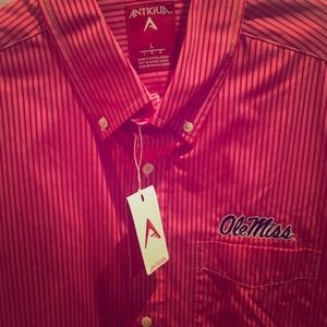 OLE MISS casual red pinstriped button down